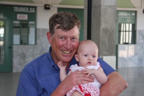 Saying goodbye to Grandpa at the bus station