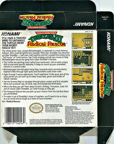 "Konami   ""Teenage Mutant Ninja Turtles III - Radical Rescue "" { Game Boy } box ii  (( 1993 ))"