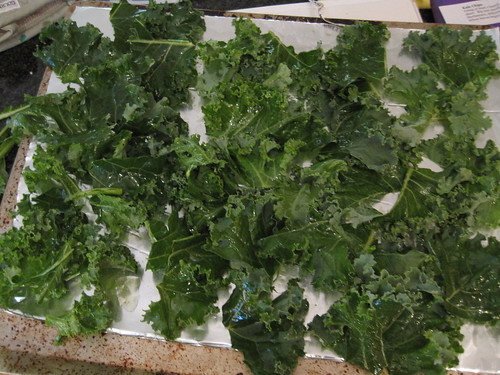 "Kale ""Chips"" before baking"