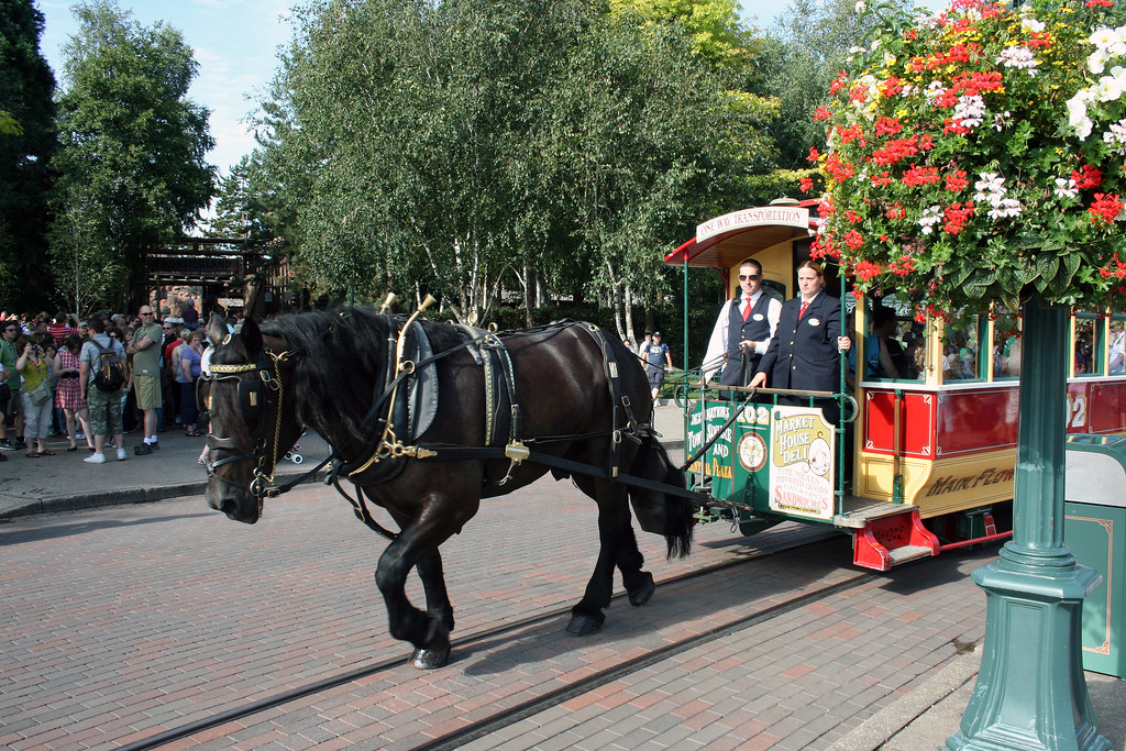 Horse-Drawn Streetcars - Disneyland Park by wrayckage, on Flickr