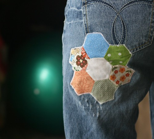 flower hexagon patch