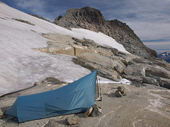 Rockstanding Tent and Summit Block from Kyes Camp