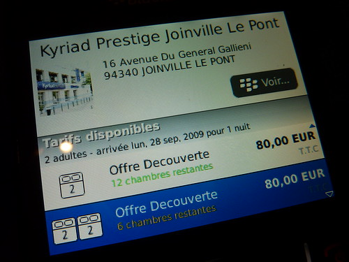 Test de l'application HotelForYou pour Blackberry