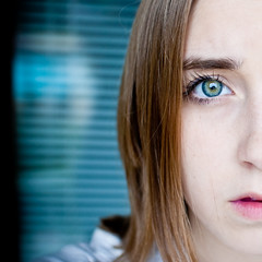 split (laurenmarek) Tags: blue portrait eye me face self hair myself nikon focus texas dof sigma clear sp adobe half lightroom 30mm d40 laurenmarek