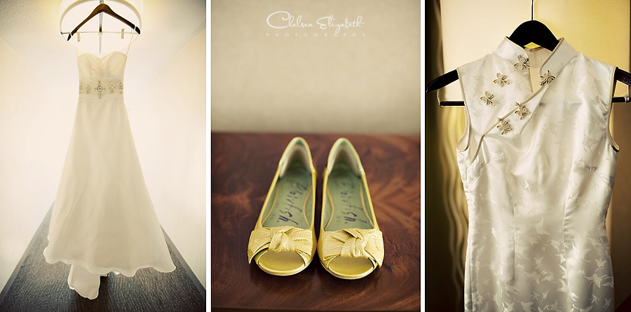 The Westin South Coast Plaza bridal details picture yellow flats, wedding dress and chinese dress picture