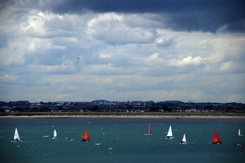 boats in dublin bay, as seen from howth