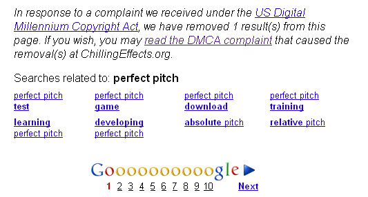 Screen capture of search results for perfect pitch - showing DMCA take down notice.