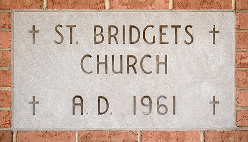 Saint Bridget of Kildare Roman Catholic Church, in Pacific, Missouri, USA - cornerstone