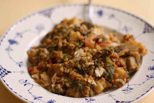 'Very Simple Dal Palak' with Jasmine Rice