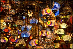 Lamps in the Grand Bazaar (polarjez) Tags: turkey glow market istanbul lamps colourful bazaar grandbazaar kapalar