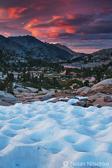 Sabrina Basin Sunset (Nitschke Photography) Tags: california pink sunset red cloud sabrina snow nature water clouds landscape photography nolan nevada basin sierra sierras eastern lenticular nitschke