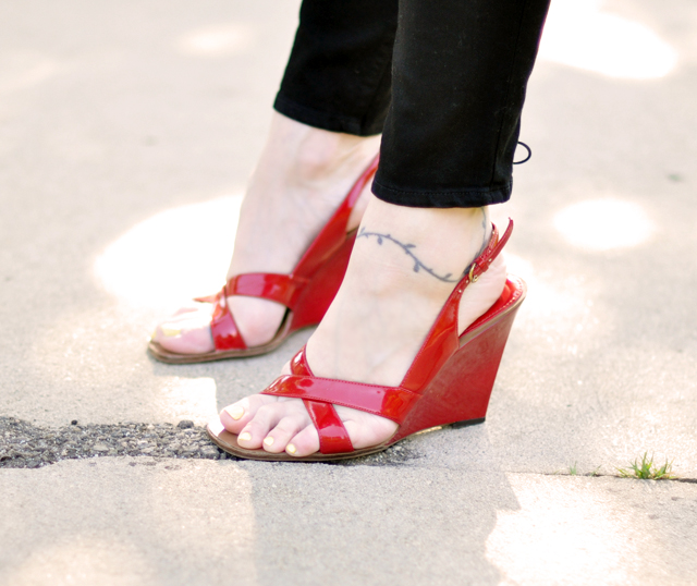 red patent wedge sandals