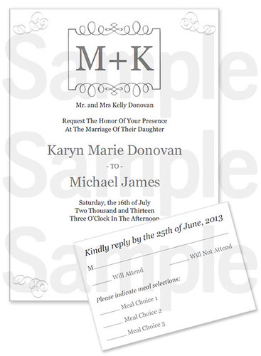 Monogram Printable Wedding Invitation Set