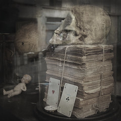 vanit~vanitas (ixos) Tags: art texture dark square cards skull book doll crane os bones layer jouet carr cartes poupe cration vanit ixos calques vanite texturesquared