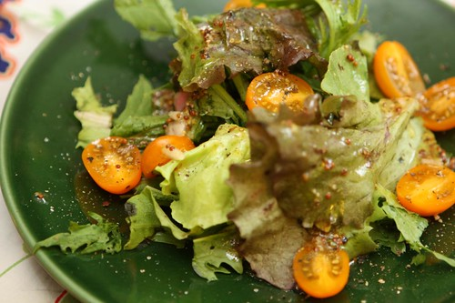 Zima Tomatoes, Buttercrunch Lettuce, Red Sail Lettuce, and Mizuna, with Lemon Shallot Mustard Vinaigrette