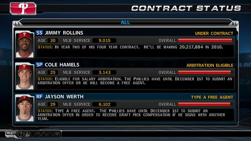 MLB 09 The Show screenshot - Contract Status