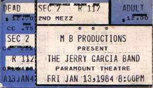Jerry Garcia Band ticket for 1/13/84 Paramount Northwest Theatre, Seattle, Washington [from: www.psilo.com]