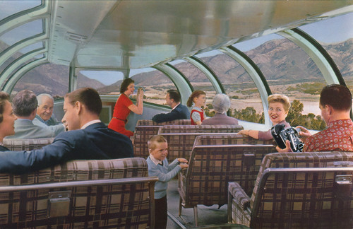 Astra Dome Coach on the Union Pacific Railroad - 1957 post card