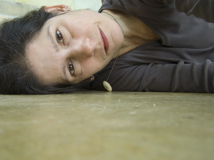 lying down in the studio