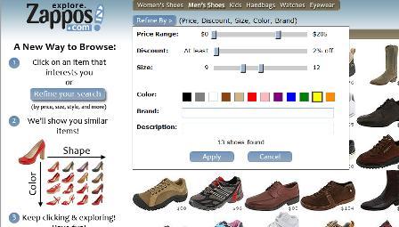 Zappos filtering tools