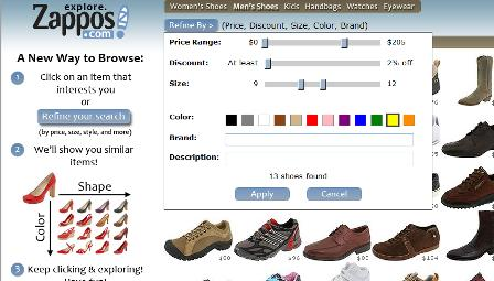 Zappos filtering tools