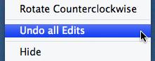 Menú contextual de Picasa 3 para Mac mostrando la opción de recuperar la foto original