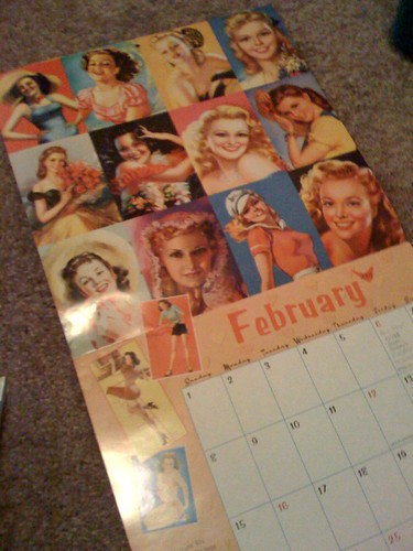 Pin-up page in old calendar