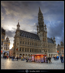 City hall, Grand place, Brussels, Belgium :: HDR :: Vertorama (Erroba) Tags: houses brussels photoshop canon rebel europe belgium belgique grandplace terrace cityhall tripod belgi b