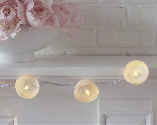 White Cupcake lights and Pink peonies by decorology.