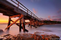 Bare Island  La Perouse. Sydney, Australia :: HDR (-yury-) Tags: ocean longexposure bridge sunset sea sky water rocks sydney wave australia nsw botanybay hdr laperouse bareisland supe