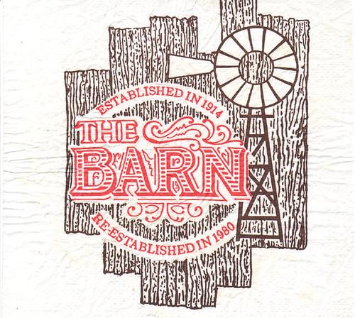 "Napkin from ""The Barn: Restaurant & Saloon"" in Tustin, CA"