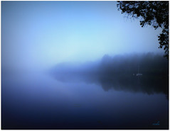 ~~ play misty for me ~~ ;) (xandram) Tags: blue trees mist beautiful fog sailboat photoshop pond legacy theunforgettablepictures miasbest redmatrix