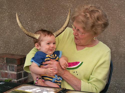 Grandma holds Finn with his horns