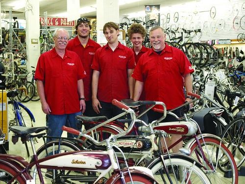 Roy Laird, Kevin Karbowski, Steve Whitford, Stefan Bacon, and Scott Wilke of South Shore Cyclery. ~photo Ken Mobile