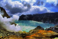 Ijen Crater (Kawah Ijen) (diankarl (www.diankarlina.com)) Tags: travel sky mountain lake holiday nature water clouds landscape volcano pond cloudy smoke wideangle bluesky mining crater mineral raysoflight lightbeam eastjava stratovolcanoes jawatimur kawahijen banyuwangi sulphurmine bondowoso sulfurmine indonesiaasiasoutheastasiajavadiankarldiankarlinawwwdiankarlinacom