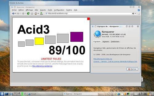 Résultats de Konqueror 4.3 au test Acid3