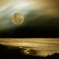 Moon watch (borealnz) Tags: light sunset sea newzealand moon reflection beach night clouds square person evening surf waves shadows pentax magic surreal fullmoon moonrise nz huge otago dunedin moonlight stkilda bsquare august62009 ablendoffourphotostakenlastevening themoonthecloudstheseaandtheman borealnz