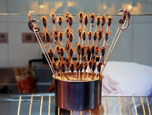 live scorpions on a stick, wangfujing snack street, beijing