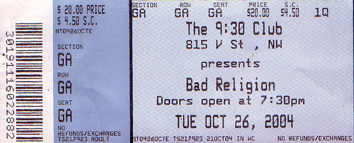 20041026 - Bad Religion ticket stub
