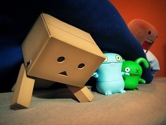 Maybe he won't find us here (willycoolpics.) Tags: toys action ox domo hiding figures picnik uglydolls babo danbo danboard