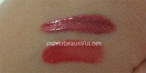 lipvelvet + lipshine in chinatown glam swatch without flash