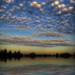 Scattered End (ecstaticist) Tags: sunset sky cloud canada reflection tree water silhouette vancouver creek canon river island flood simulation columbia victoria explore filter pear british frontpage flaming elph upsampled tonemapped pseudohdr hdrp colquitz sd1000