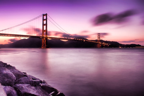 golden gate bridge sunset. The Golden Gate bridge after sunset. A long exposure of the Golden Gate