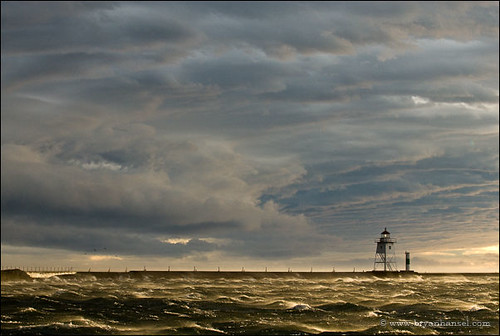 Grand Marais Lighthouse and storm