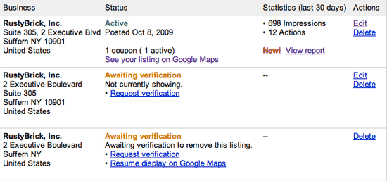 google local business listings dup