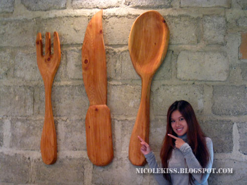 giant wooden cutlery