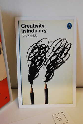 Creativity in Industry by P.R. Whitfield. 1975 Penguin Edition. Cover by David Pelham.  Postcard in Postcards from Penguin.