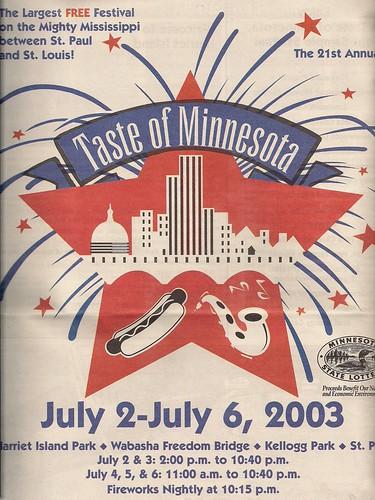 2003 Taste of MN Festival Program
