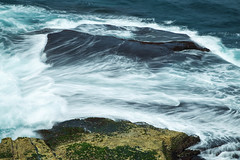 Crash (neco.w) Tags: ocean blue sea beach water rock grey rocks long exposure waves slow crash wave shore shutter crashing
