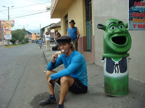 Having an ice-cream break in Salcedo, central Ecuador.